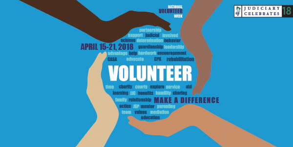 Blue background, four hands in the shape of a circle, each of a different race.  April 15 - 21, 2018. Volunteer. Make a Difference.