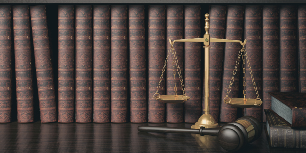 balance, gavel and law books