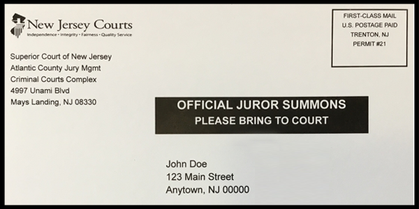 Postcard, official juror summons, please bring to court