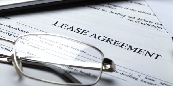 Legal document with text stating Lease Agreement